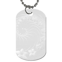 Light Gray Abstract Flowers Dog Tag (one Sided) by BestCustomGiftsForYou