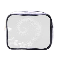 Light Gray Abstract Flowers Mini Travel Toiletry Bag (one Side)