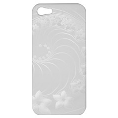 Light Gray Abstract Flowers Apple Iphone 5 Hardshell Case by BestCustomGiftsForYou