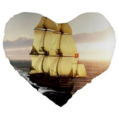 French Warship 19  Premium Heart Shape Cushion
