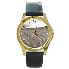 Laguna Beach Walk Round Metal Watch (gold Rim)  by hlehnerer