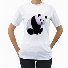 Panda Bear Womens  T Shirt (white) by gatterwe
