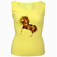 Native Horse Womens  Tank Top (yellow) by gatterwe