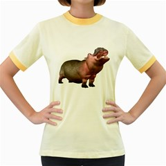 Hippo 2 Womens  Ringer T Shirt (colored)