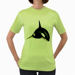 Orca Whale 3 Womens  T Shirt (green)