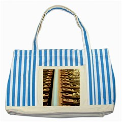 Train Track Blue Striped Tote Bag by hlehnerer