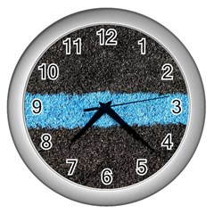 Black Blue Lawn Wall Clock (silver) by hlehnerer