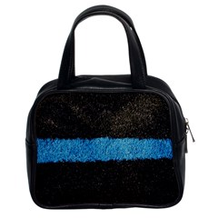 Black Blue Lawn Classic Handbag (two Sides) by hlehnerer