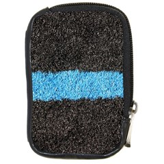 Black Blue Lawn Compact Camera Leather Case by hlehnerer
