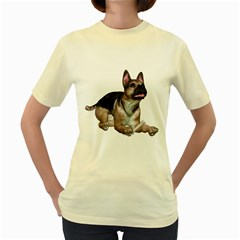 Puppy 2  Womens  T-shirt (yellow) by gatterwe