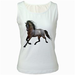 Brown Horse 2 Womens  Tank Top (white) by gatterwe
