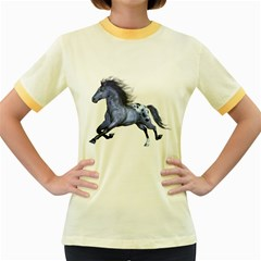 Blue Horse Womens  Ringer T Shirt (colored)