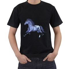 Blue Horse Mens' T-shirt (black) by gatterwe