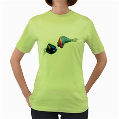 Fish 5 Womens  T Shirt (green)