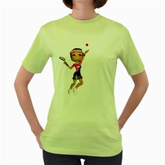 Tennis Girl 2 Womens  T Shirt (green)