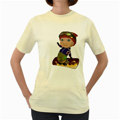 Snowboarder 2  Womens  T Shirt (yellow) by gatterwe