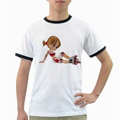 Skater Girl 1 Mens' Ringer T-shirt by gatterwe