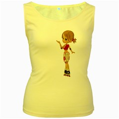 Skater Girl 4 Womens  Tank Top (yellow) by gatterwe