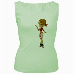 Skater Girl 4 Womens  Tank Top (green) by gatterwe