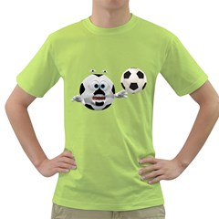 Soccer Smiley Mens  T Shirt (green)