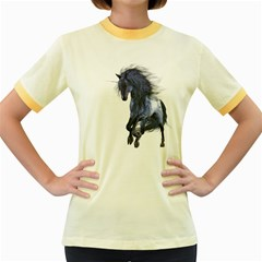 Blue Unicorn 1 Womens  Ringer T Shirt (colored) by gatterwe