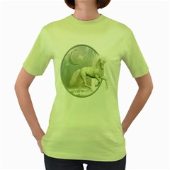 White Unicorn 1 Womens  T Shirt (green) by gatterwe