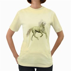 White Unicorn 3  Womens  T Shirt (yellow) by gatterwe