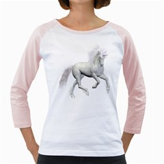 White Unicorn 3 Womens  Long Sleeve Raglan T Shirt (white) by gatterwe