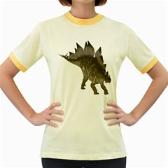 Stegosaurus 2 Womens  Ringer T Shirt (colored) by gatterwe
