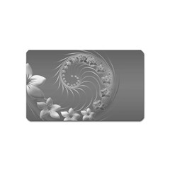 Gray Abstract Flowers Magnet (name Card)
