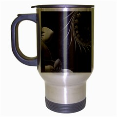 Gray Abstract Flowers Travel Mug (silver Gray)