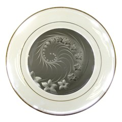 Gray Abstract Flowers Porcelain Display Plate by BestCustomGiftsForYou