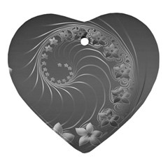 Gray Abstract Flowers Heart Ornament (two Sides) by BestCustomGiftsForYou