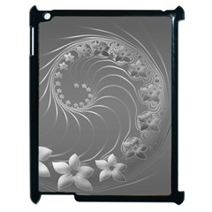 Gray Abstract Flowers Apple Ipad 2 Case (black) by BestCustomGiftsForYou
