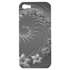 Gray Abstract Flowers Apple Iphone 5 Hardshell Case by BestCustomGiftsForYou