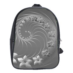 Gray Abstract Flowers School Bag (xl)