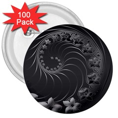Dark Gray Abstract Flowers 3  Button (100 Pack) by BestCustomGiftsForYou