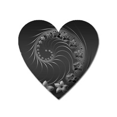 Dark Gray Abstract Flowers Magnet (heart)