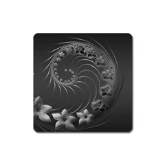 Dark Gray Abstract Flowers Magnet (square) by BestCustomGiftsForYou