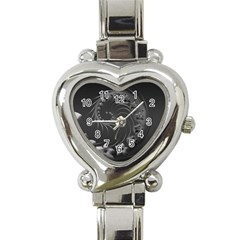 Dark Gray Abstract Flowers Heart Italian Charm Watch  by BestCustomGiftsForYou