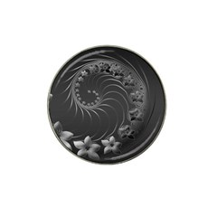Dark Gray Abstract Flowers Golf Ball Marker 4 Pack (for Hat Clip) by BestCustomGiftsForYou