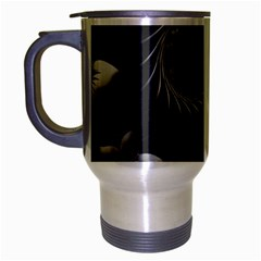 Dark Gray Abstract Flowers Travel Mug (silver Gray) by BestCustomGiftsForYou