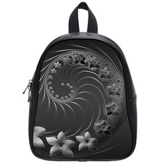 Dark Gray Abstract Flowers School Bag (small) by BestCustomGiftsForYou