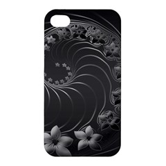 Dark Gray Abstract Flowers Apple Iphone 4/4s Hardshell Case by BestCustomGiftsForYou