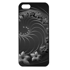Dark Gray Abstract Flowers Apple Iphone 5 Seamless Case (black) by BestCustomGiftsForYou