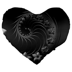 Dark Gray Abstract Flowers 19  Premium Heart Shape Cushion by BestCustomGiftsForYou