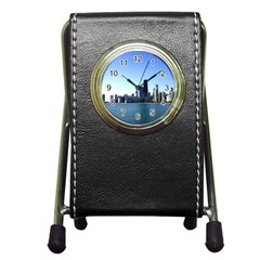 Chicago Skyline Stationery Holder Clock