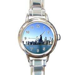 Chicago Skyline Round Italian Charm Watch