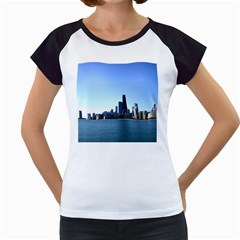 Chicago Skyline Women s Cap Sleeve T-Shirt (White)