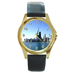 Chicago Skyline Round Metal Watch (Gold Rim)